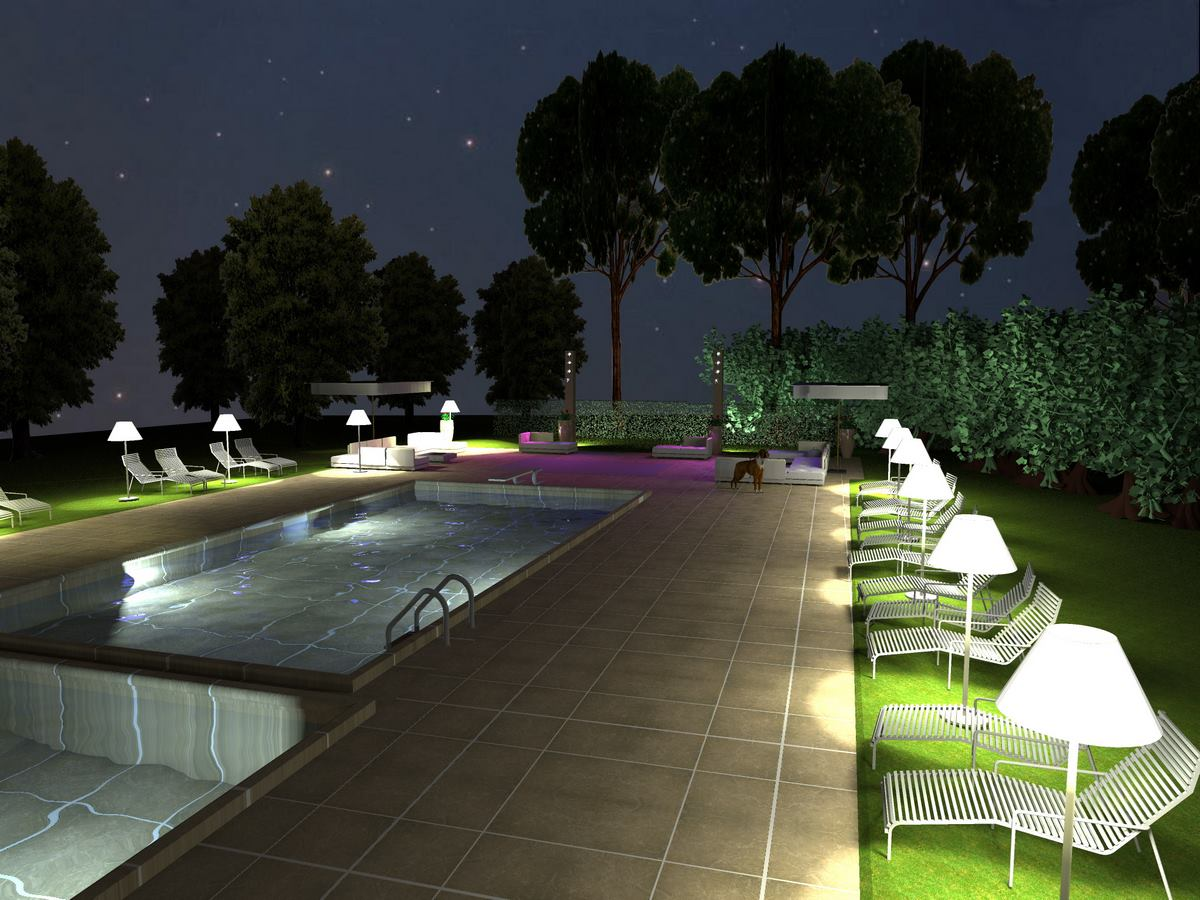 Tenuta Monacelle - Progetto illuminotecnico per area piscina e zona catering - Kino Workshop