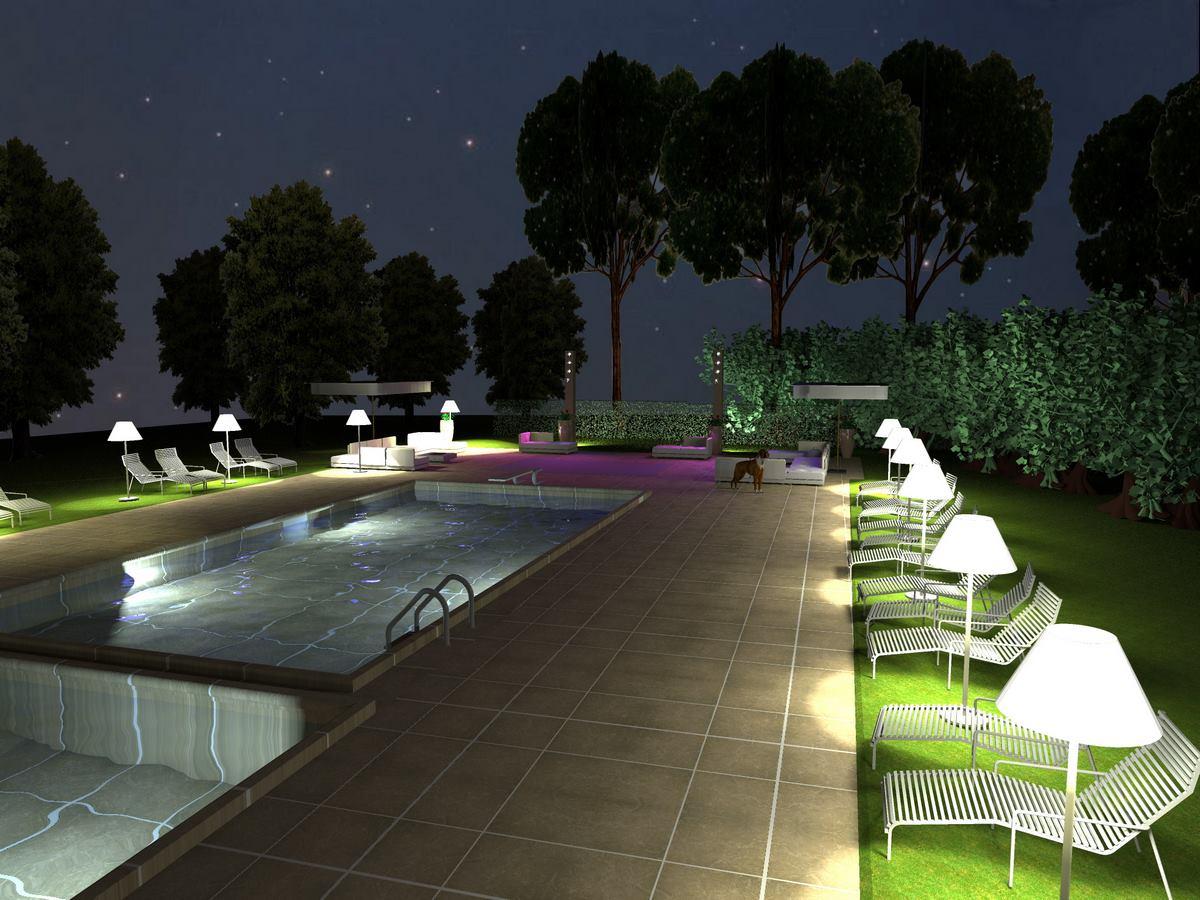 Tenuta Monacelle - Progetto illuminotecnico per area piscina e zona catering - Kino Workshop